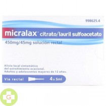 MICRALAX CITRATO/LAURIL SULFOACETATO 450MG/45MG SOLUCIÓN RECTAL, 4 ENEMAS